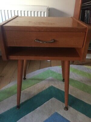 BEDSIDE TABLE - retro mid century - a little beauty - solid and stable.