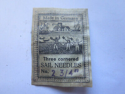THREE CORNERED SAIL NEEDLES LABEL MADE in GERMANY 1900s SHIPPING MARITIME