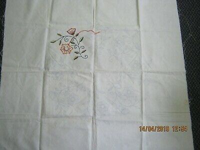 stamped linen flower leaf floral table cloth embroidery jacobean elizabethan