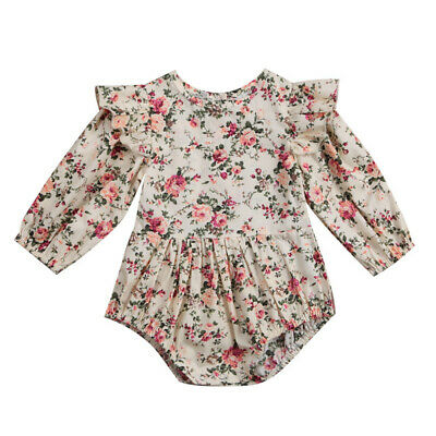 Sweet Floral Toddler Baby Girls Romper Long Sleeve Cotton Summer Jumpsuit Outfit