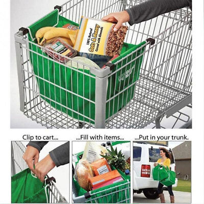 1PC Shopping Bag Foldable Tote Reusable Trolley Clip To Cart Large Capacity Bag