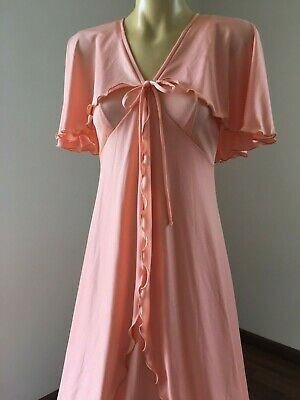 Vintage  1970s apricot tiered maxi dress size 12