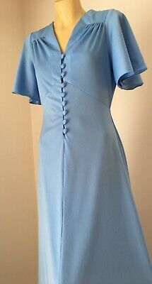 Vintage 1970s blue maxi dress with button front size 14