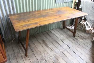 A Vintage Farmhouse Timber Trestle Table with Iron Fittings - 183cm (6')