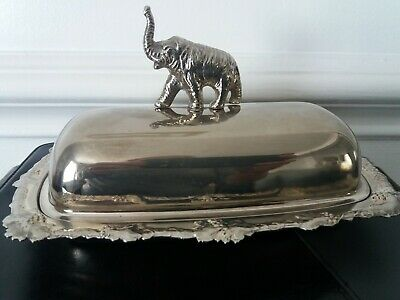 Elephant Silver plated butter dish vintage
