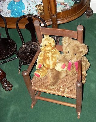 ANTIQUE CHILD'S ROCKER - Solid Oak - Splint/Reed Seat - 1900 or there abouts!