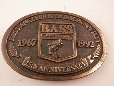 Vintage Bass Anglers 25th Anniversary 1967-1992 belt buckle 3""