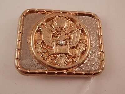 "Vintage Presidential Seal  Eagle Diamond Accent Belt Buckle 2 1/4"" x 1 7/8"""