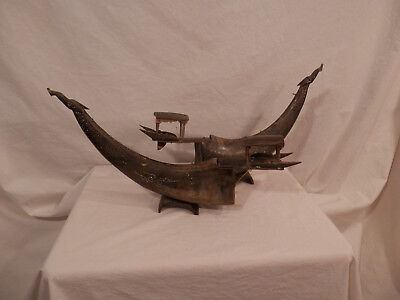 "Vintage Asian Dragon ship Water Buffalo horn Handmade Carved 16"" x 11.5"" tall"