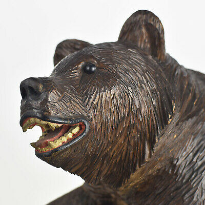 Large Antique Sitting Bear Figurine Carved Wood Glass Eyes Brienz Black Forest