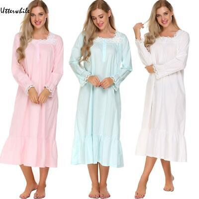 Womens Victorian Long Sleeve Pajamas Lace Patchwork Ruffled Hem U8HE