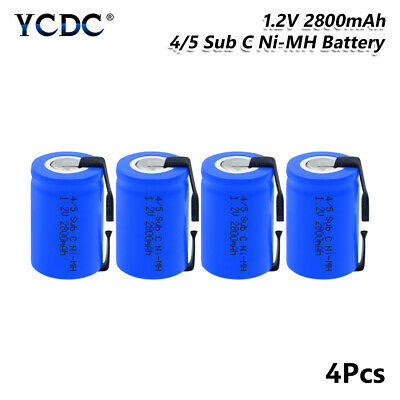 4Pcs 1.2V 4/5 SubC Sub C 2800mAh Ni-MH Rechargeable Battery 4/5 SC With Tabs 09