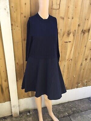 05889bd11b15 Cos Navy Blue Cotton Linen Blend Contrast Knit Dress Size Small