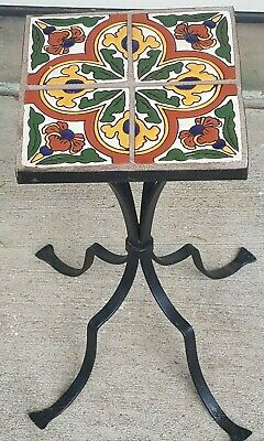 Vintage Wrought Iron Tile Table New Tiles Arts & Crafts Stickley Era
