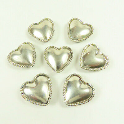 VINTAGE BUTTONS HEART Shaped Flower Etched Design Silver