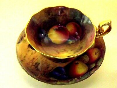 BEAUTIFUL-Royal Worcester-Hand Painted Fruit Cup&Saucer-By MOSELY & AUSTIN-1927.
