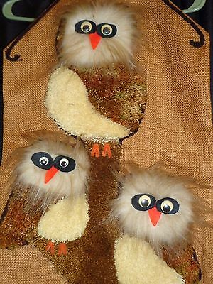 Vtg Tree Owl Burlap Tapestry Wall Hanging Art Decor Mcm Retro Boho Hippie Mod