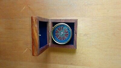 Small brass compass with box