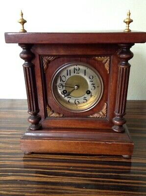 ANTIQUE OAK Large Cased MANTEL CLOCK 8 Day With Gong WORKING ORDER *No Key*