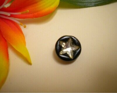 Antique Black Glass Cup Button With Embedded Faceted Mirrored Star