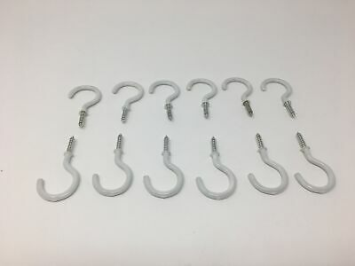 """12 White Vinyl Coated Hooks, Round End Screw Hooks - 2"""" end to end 3/4"""" opening"""