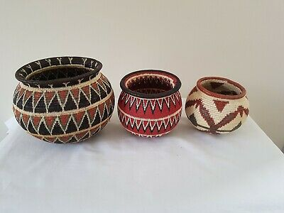 Native American / Peruvian Weaved Coiled Reed Bowl Basket Vintage / Antique