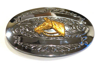 "CHAMBERS BELT Co. Silver & Gold Horse Western Rodeo Cowboy Large 4"" Belt Buckle"