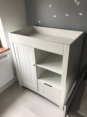 baby changing unit in white wood