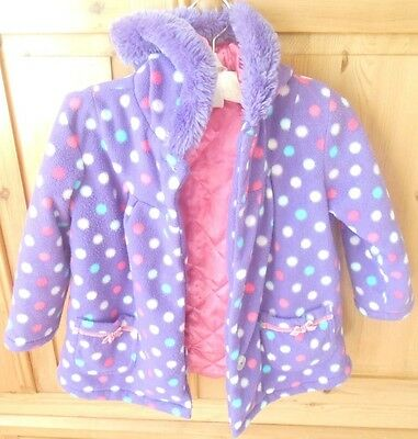 BHS purple spotted coat with fur trimmed hood and matching gloves age 4-5
