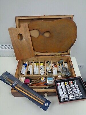 Vintage Artists Box LOT Winsor & Newton Pallettes/Oil Paints/Brushes/Rowney Etc