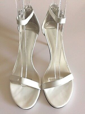 b551456be6d STUART WEITZMAN NearlyNude Ankle Strap White Nappa Leather Sandals size 9 M
