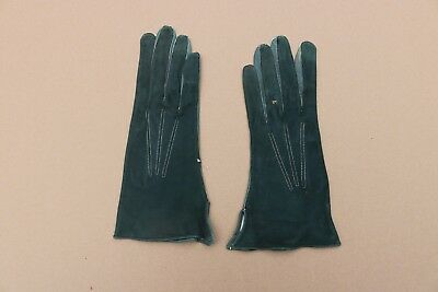 Vintage Women's Green Leather Long Gloves Size 6 ¾