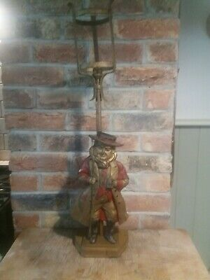 Antique Large Original Cast Iron And Enamel Pickwick Papers Highwayman Lamp