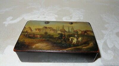 Late 1700's to Early 1800's Paper Mache Hand Painted Snuff Box in a Town Scene