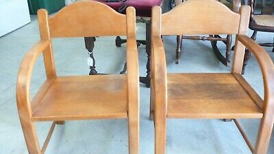PAIR Vintage Childs Solid Wood Chairs