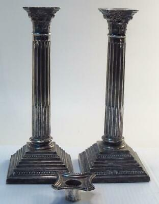 Pair of English Sterling Corinthian Column Tall Antique Candle Holders *