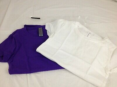 fb9e8115129a95 Clementine Big Girls Everyday T-Shirts Crew 2-Pack White Purple XS (