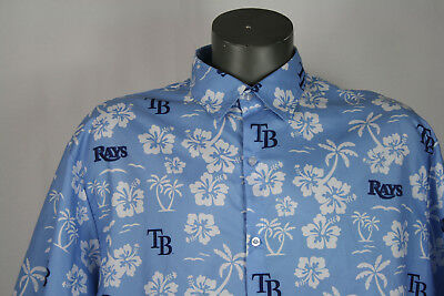 Tampa Bay Rays All Over Print Hawaiian Button Up SGA Shirt MLB XL blue floral