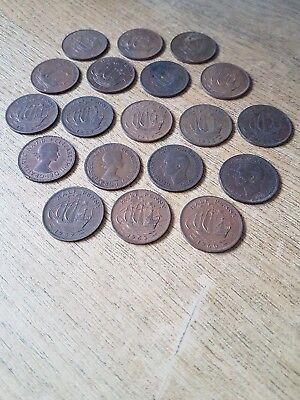 Job Lot of Old Half Penny Coins