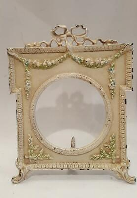 Antique French Metal Frame w/ Bow & Garland + Glass