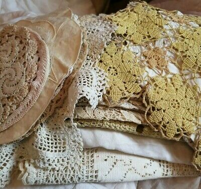 Vintage Lot~23~Doilies~Placemates~Table Runners~White~Cream~Crochet/Lace/