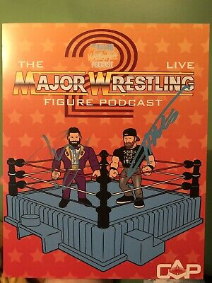Signed Major Wrestling Figure Podcast Autographed Poster Curt Hawkins Zack Ryder