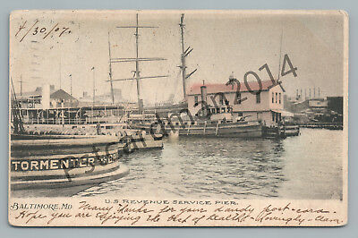 US Revenue Service Pier BALTIMORE Antique Hand Colored IRS Boats Maryland UDB