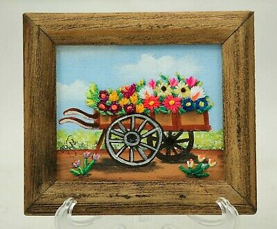 Frames w/ Hand Painted Backgrounds & Embroidered Flowers Cart Mexican Folk Art