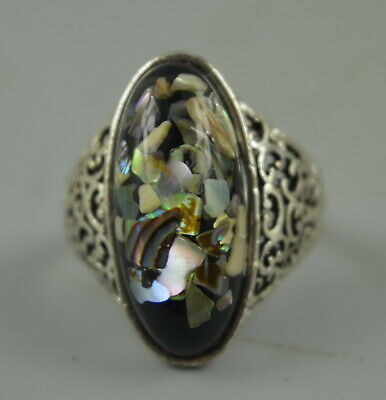 AAA Chinese Decorate Tibet Silver Carve Inlay Black Resin Noble Unique Ring