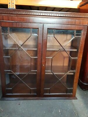 Mahogany Astral Glazed Lockable Bookcase.Delivery available.