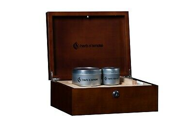 Locking wooden weed stash box with wooden rolling tray, storage containers, pen