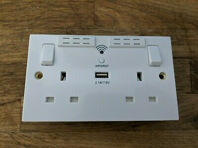 BG 13A Double Plug Wall Socket with Built-in 2.4GHz Wi-Fi Range Extender - White