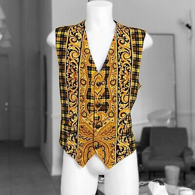 V2 by VERSACE cotton men's vest Baroque & Tartan print size IT 52 Made in Italy
