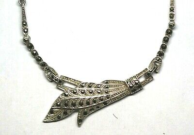 German 935 silver marcasite Art Deco 1930s vintage necklace feather asymmetric